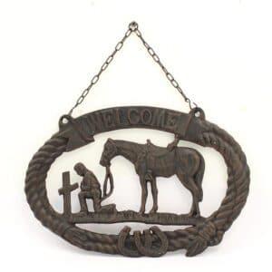Praying cowboy welcome hanger